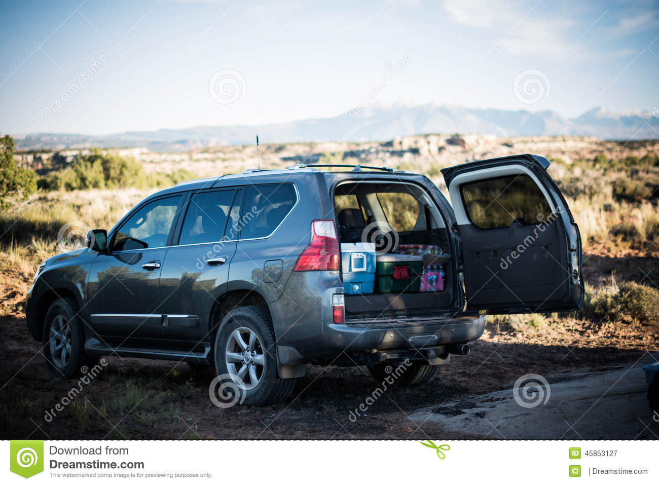 Packed Suv While Camping Stock Photo Image