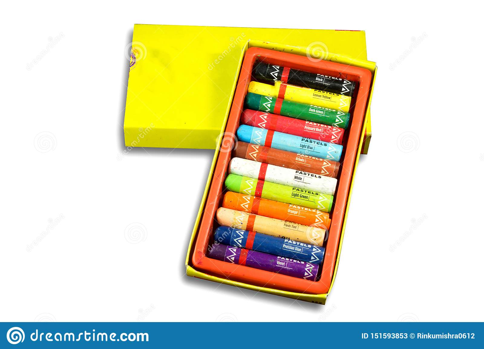 Packet of oil pastel color with name of colors for drawing