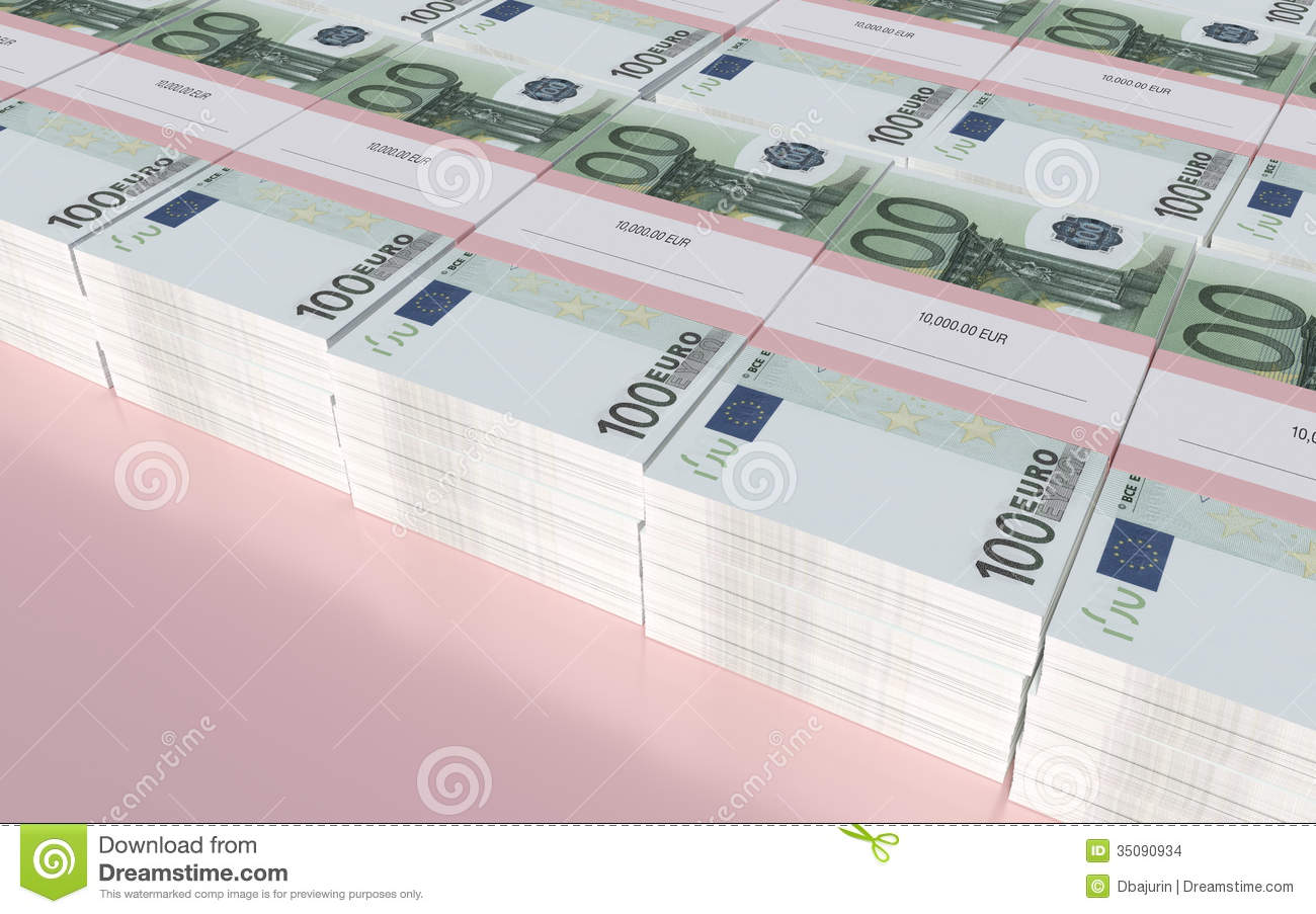 Packets Of 100 Euro Bills Stock Illustration Illustration Of Market