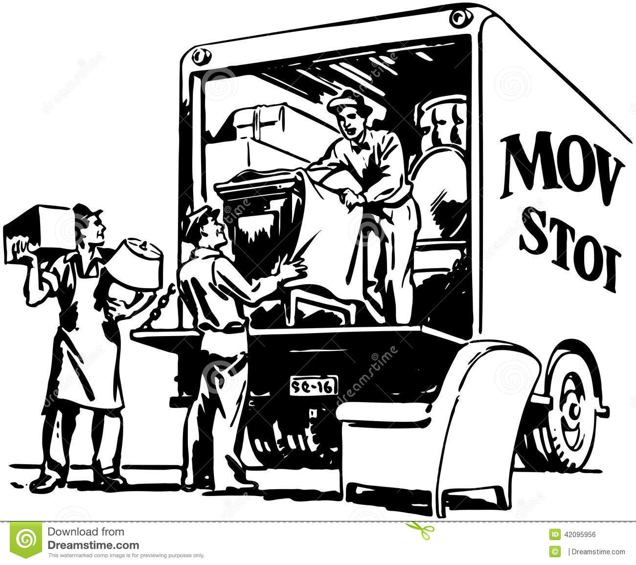 9e611ffb93003f Packing Moving Van stock vector. Illustration of males - 42095956
