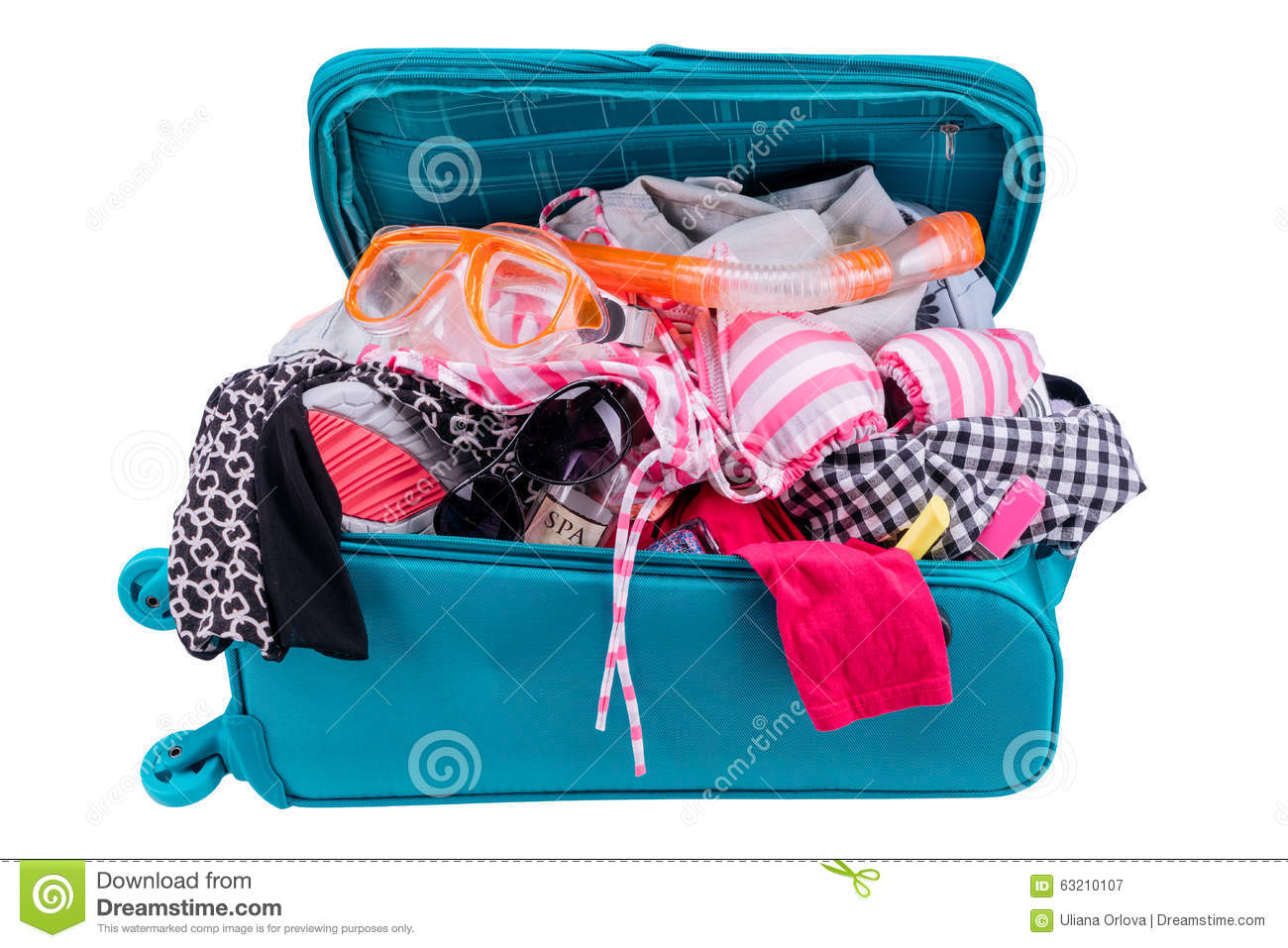 Packing To Go On Vacation Isolated On White Background ...