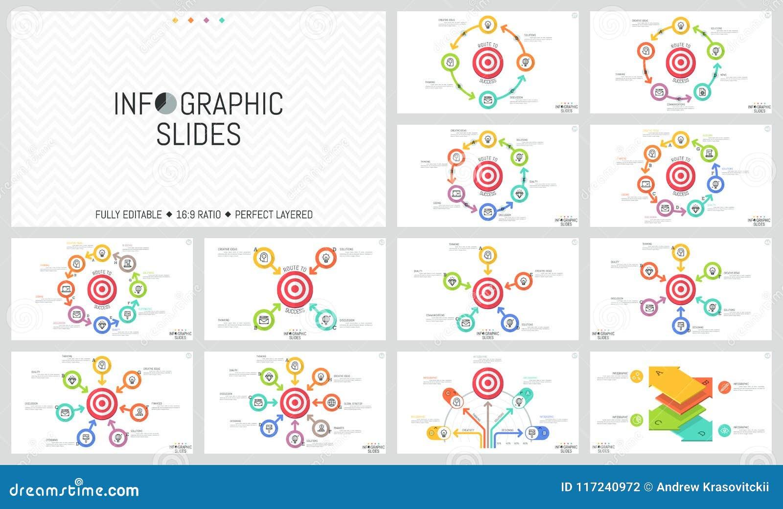 Pacote de disposições de projeto infographic minimalistas Elementos redondos com as setas colocadas em torno do alvo do tiro, obj