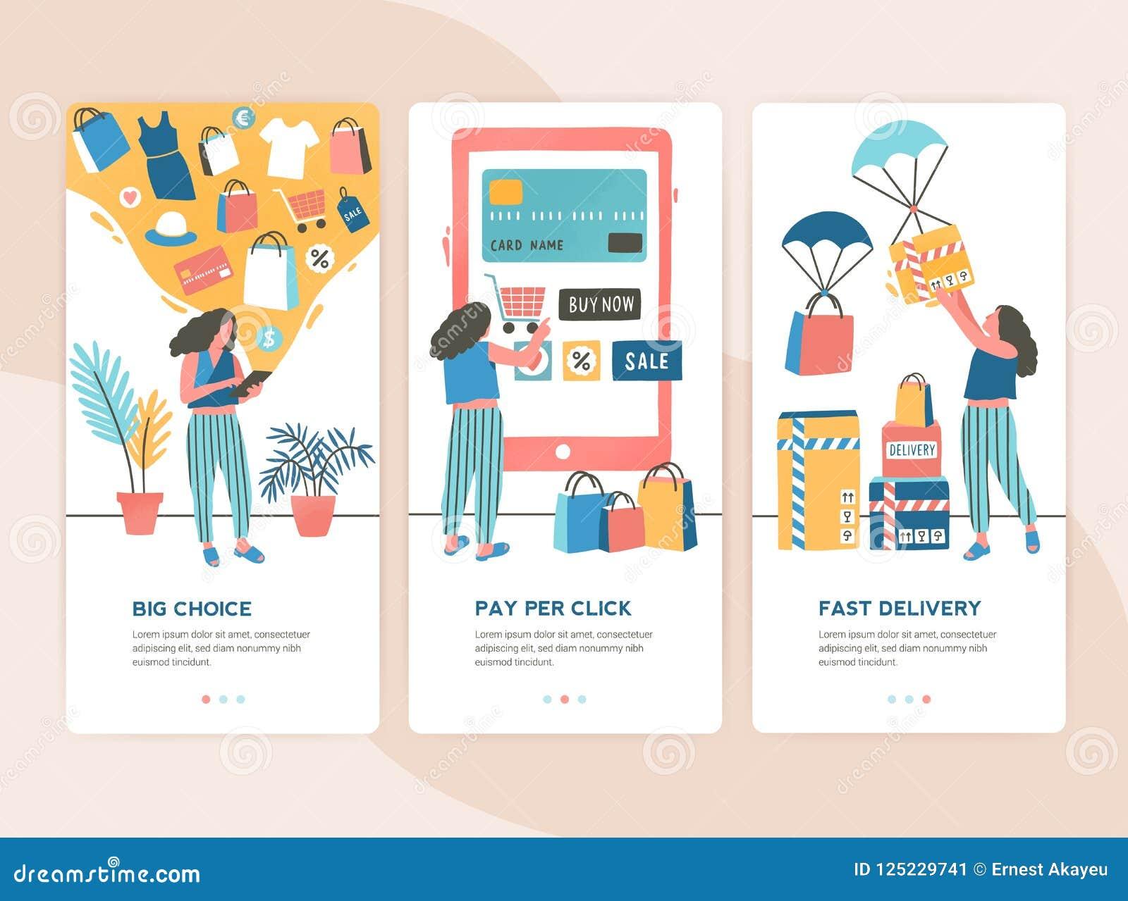 Pacote de moldes verticais da bandeira da Web com fases da compra em linha - escolha, pagamento, entrega Grupo de cenas com