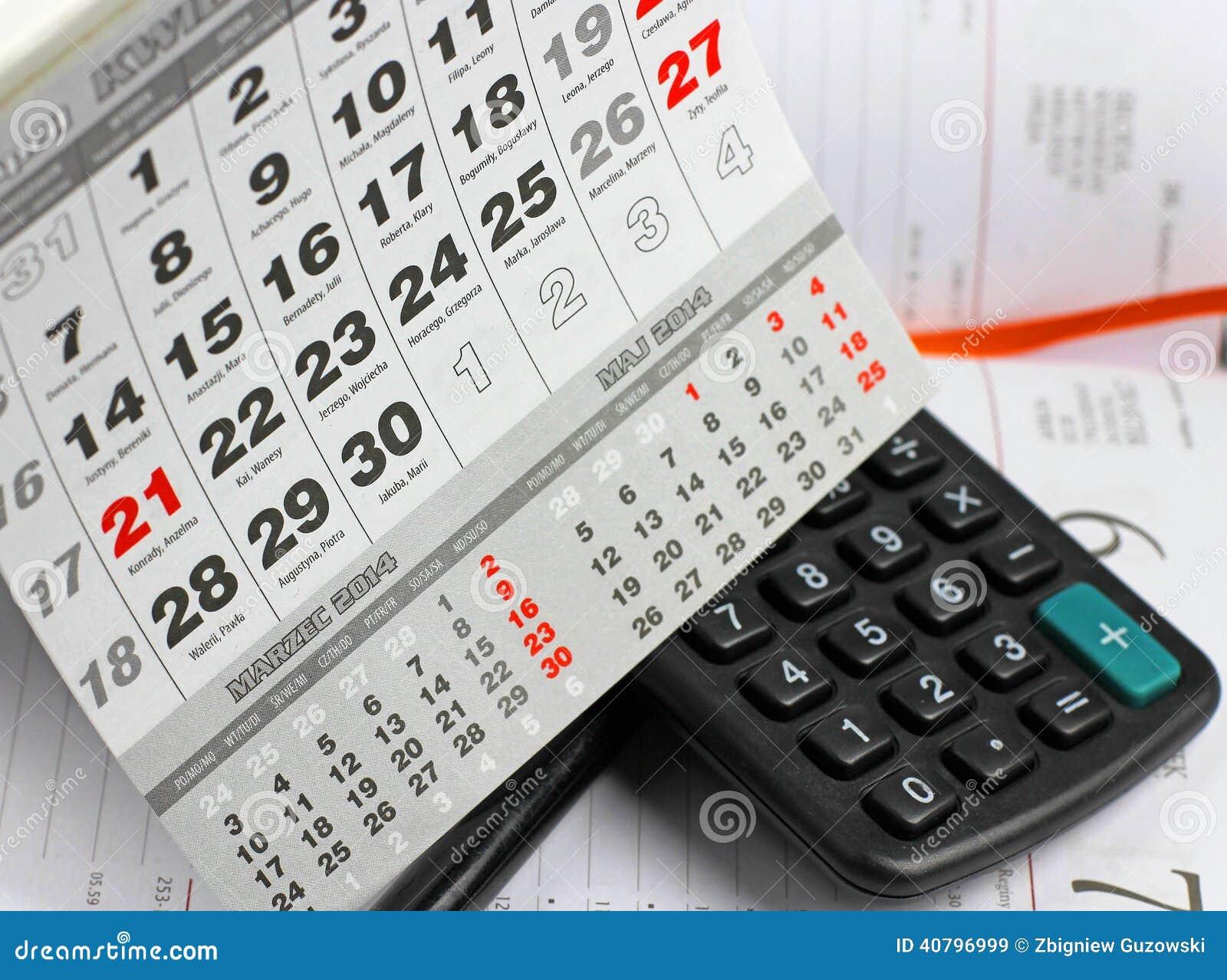 Pad Calculator On Calendar Sheets Stock Image Image Of Calendar