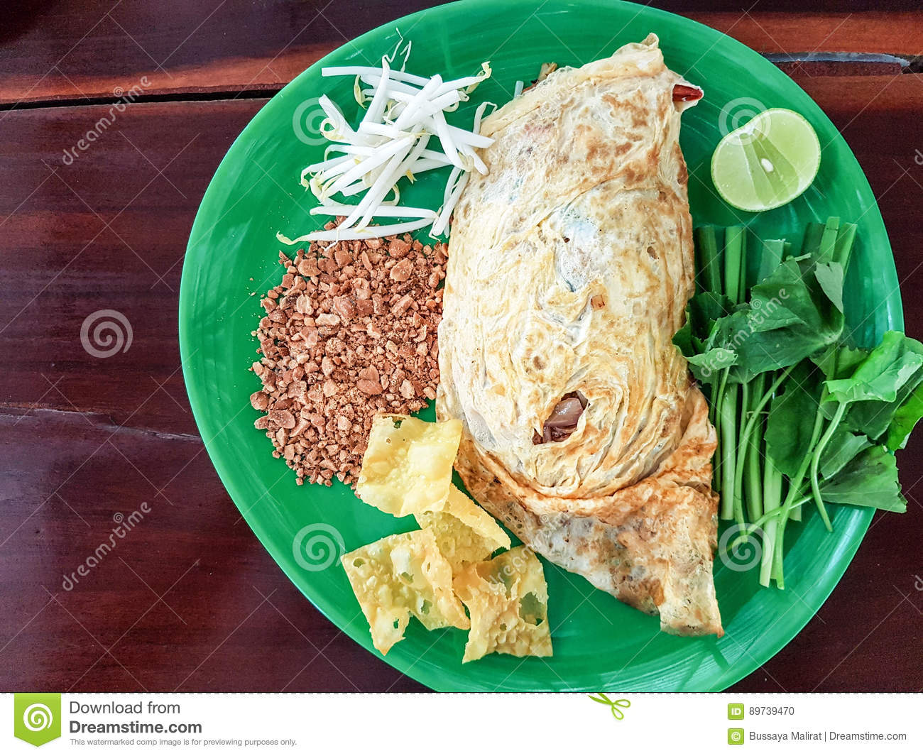 Pad Thai, stir-fried rice noodles with shrimp. The one of Thailand`s national main dish. popular food in Thailand.