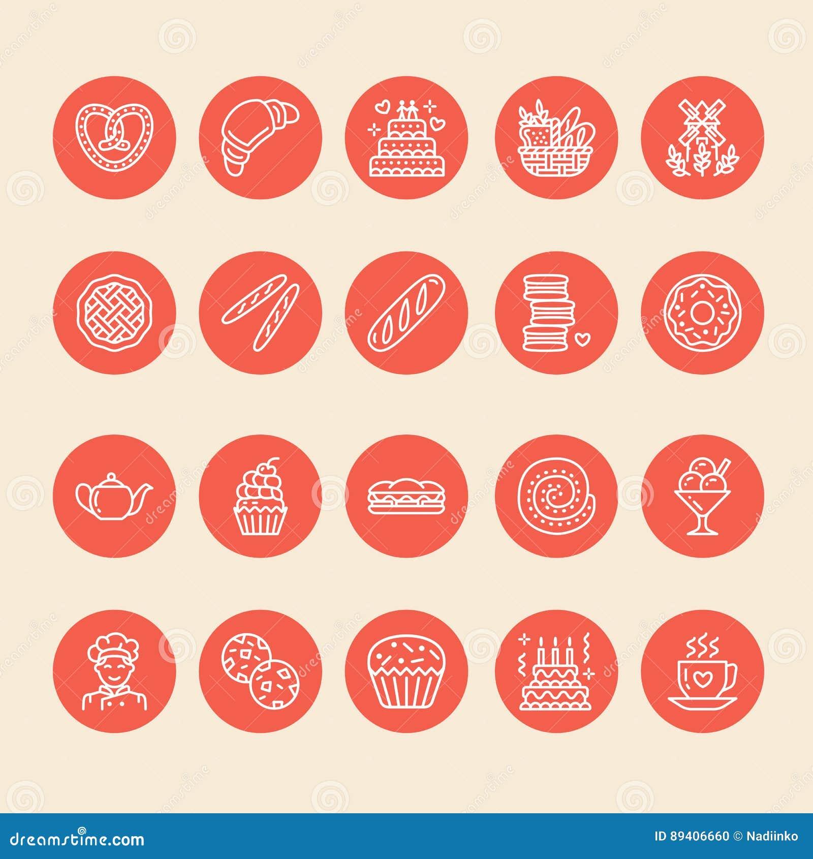 Padaria, linha ícones dos confeitos Produto doce da loja - o bolo, croissant, queque, pastelaria, queque, alimento da torta dilui