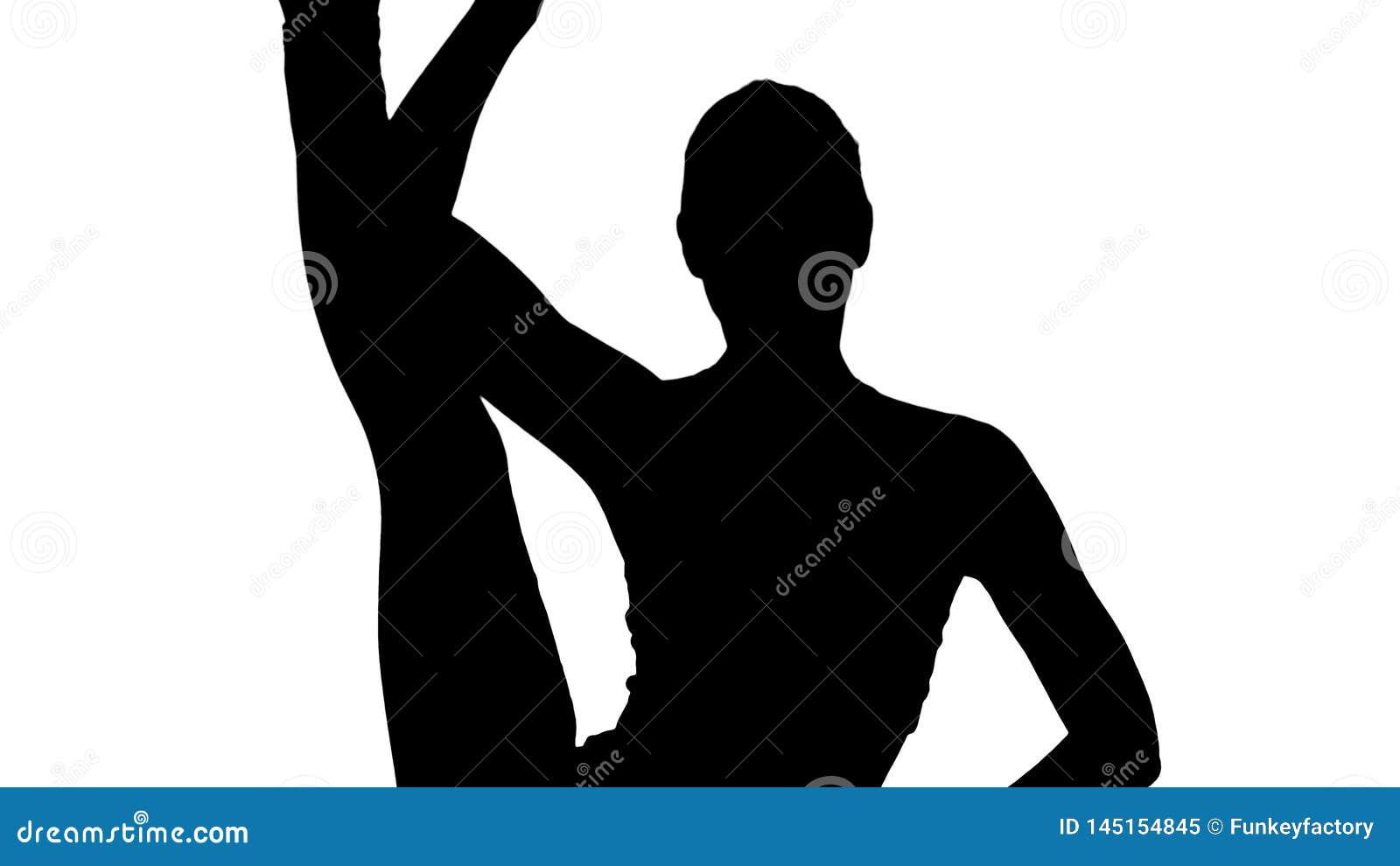 Padasana Eka prasarita разделения-urdhva положения молодой женщины силуэта красивое