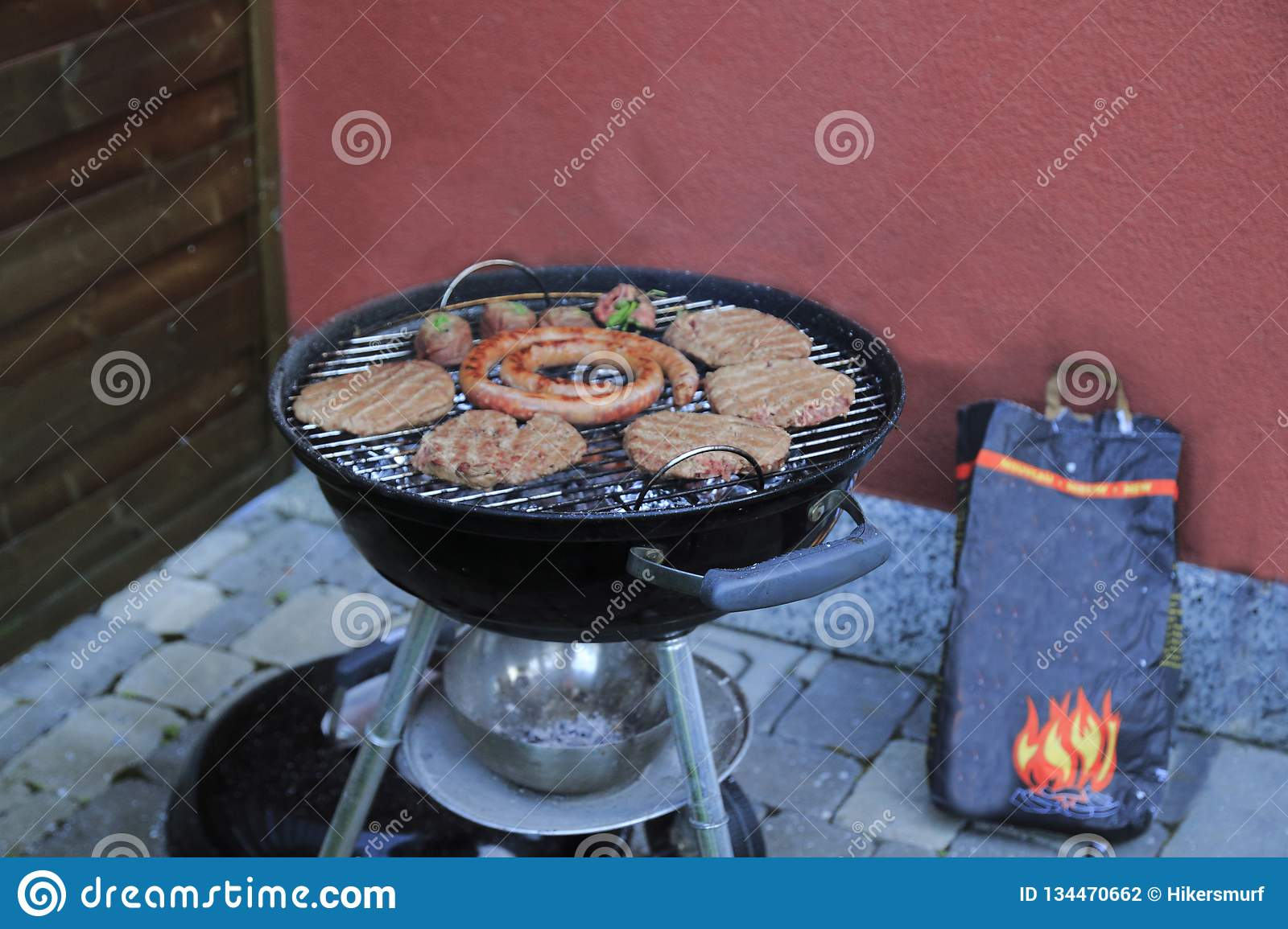 Paddies Burgers Sausages And Meat Rolls Charcoal Grill Stock Photo Image Of Party Dessert 134470662