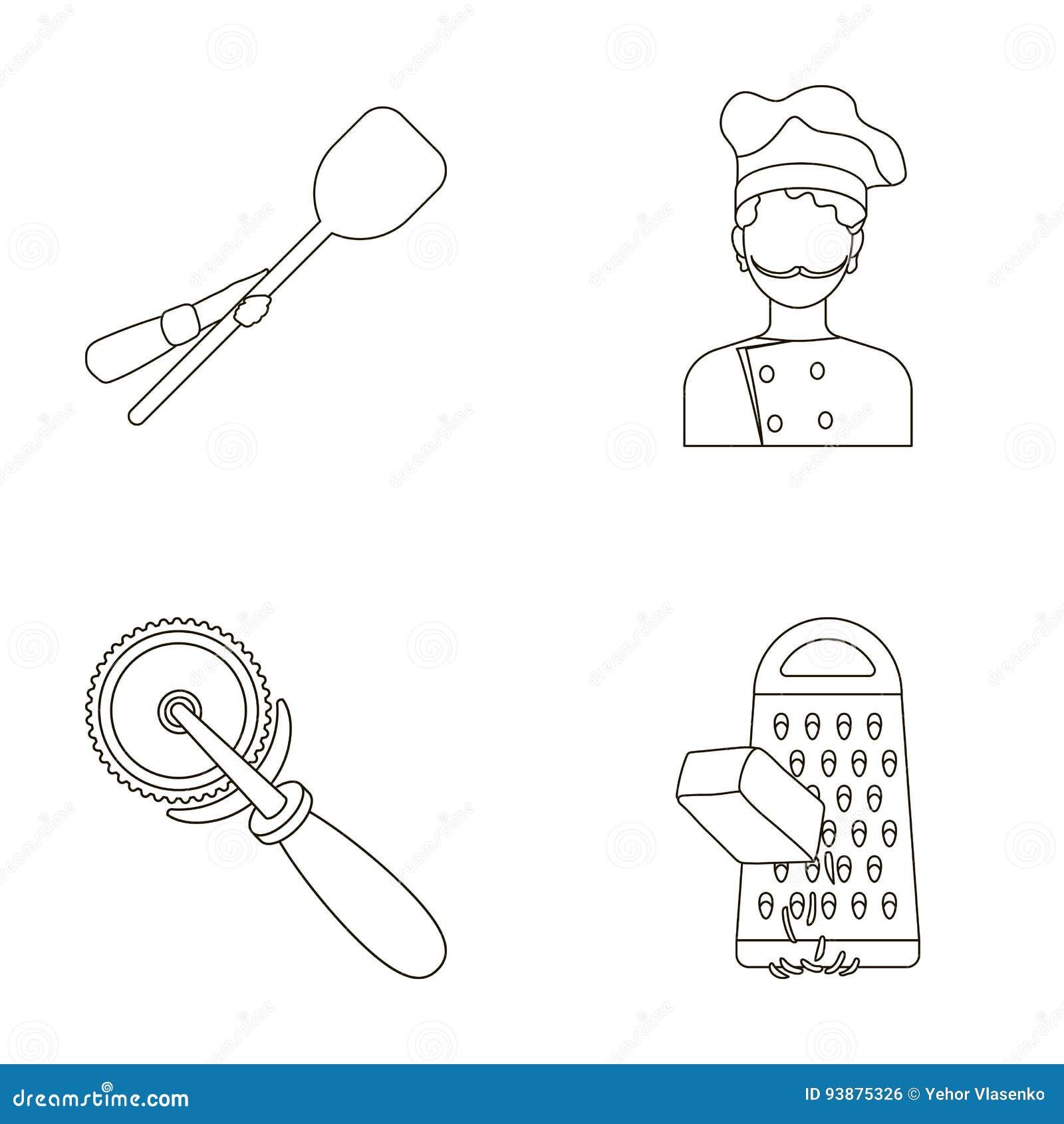 Paddle dla piekarnika, krajacz dla pizzy, kucharz, naciera ser Pizza i pizzeria ustawiać inkasowe ikony w konturze projektujemy
