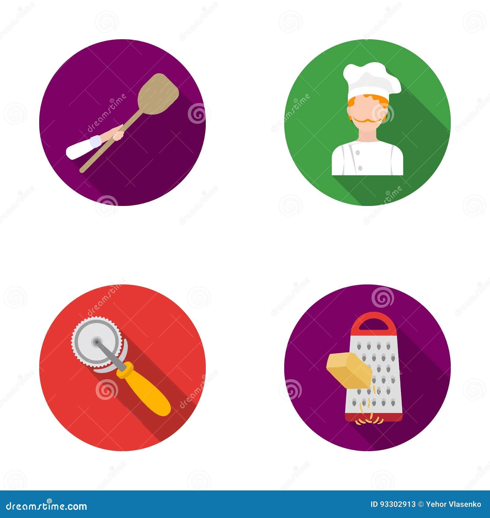 Paddle dla piekarnika, krajacz dla pizzy, kucharz, naciera ser Pizza i pizzeria ustawiać inkasowe ikony w mieszkaniu projektujemy