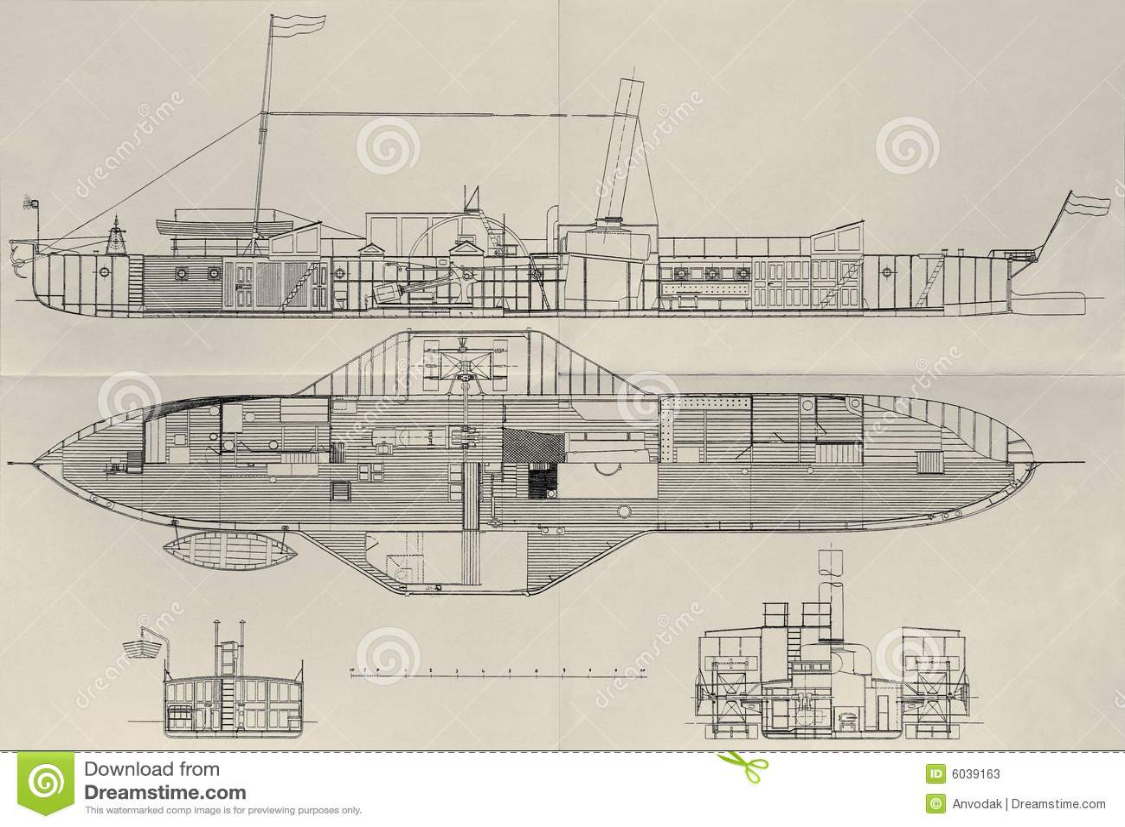Paddle Steamer Plan Stock Photos - Image: 6039163