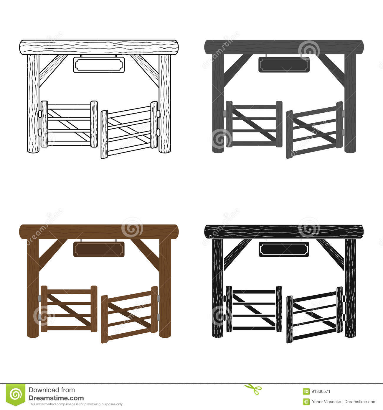 Paddock gate icon in cartoon style isolated on white background. Rodeo symbol stock vector illustration.