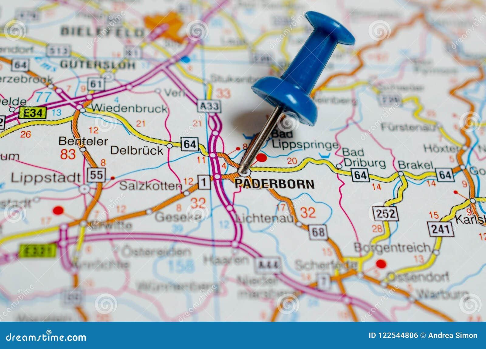 Karte Paderborn.Paderborn Auf Karte Stockfoto Bild Von Papier Karte 122544806