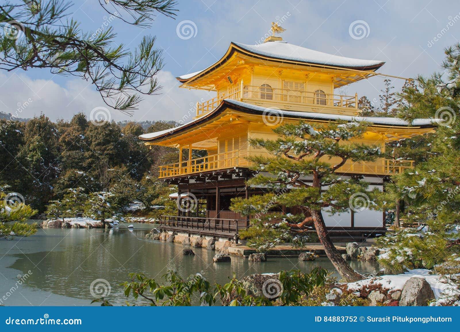 Padiglione dorato del tempio di kinkakuji fotografia stock for Piani di progettazione del padiglione