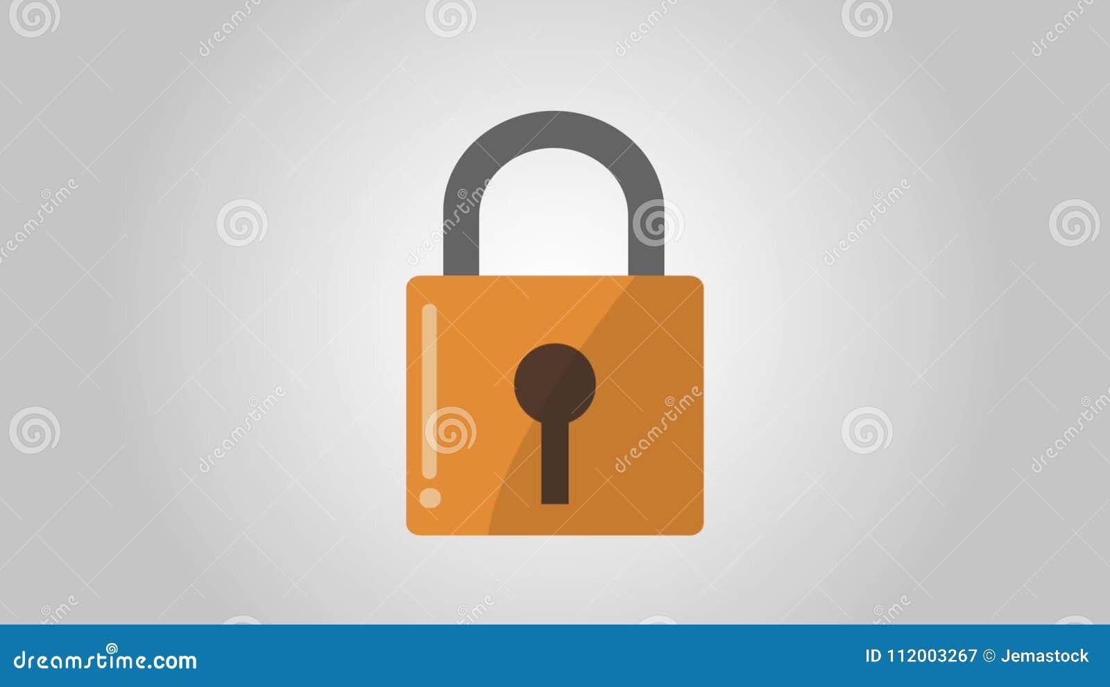 Padlock Security Symbol Hd Animation Stock Video Video Of