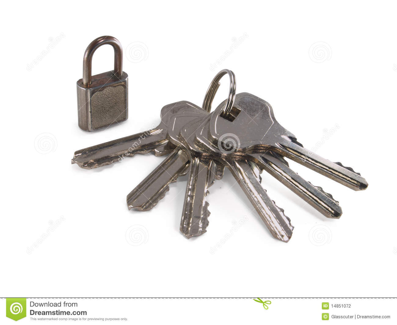 Padlock and a bunch of a keys.
