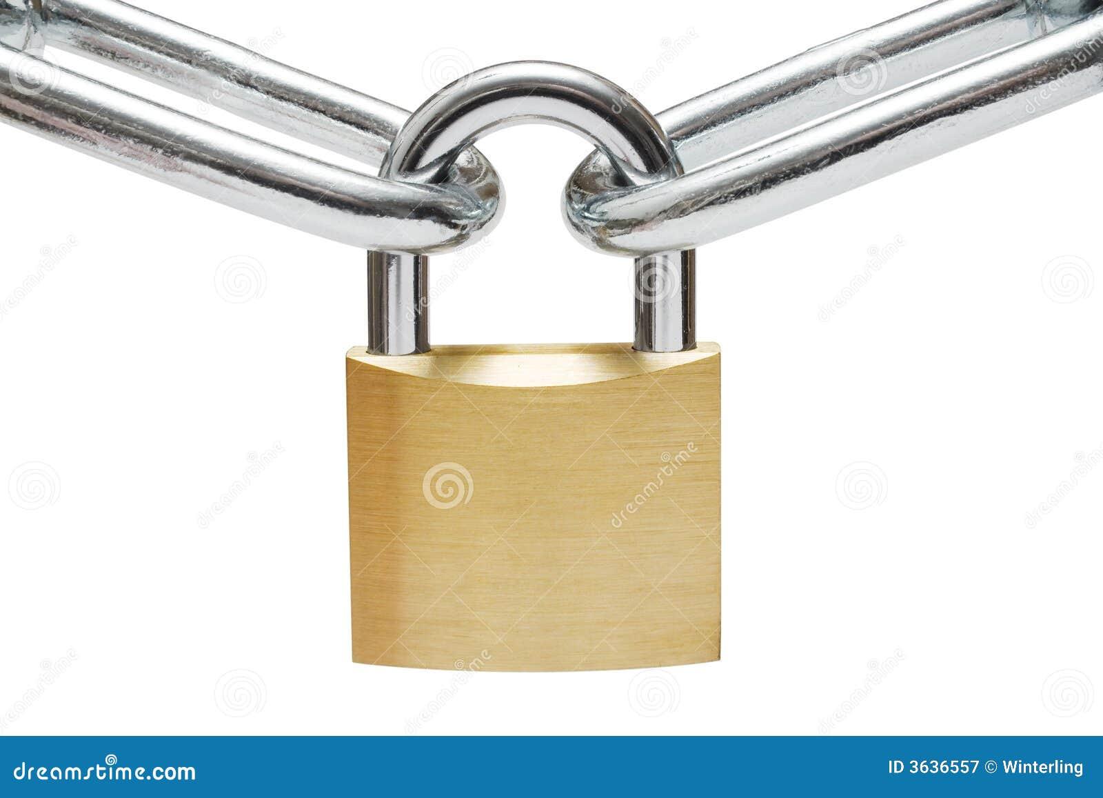 Padlock on Chain Links