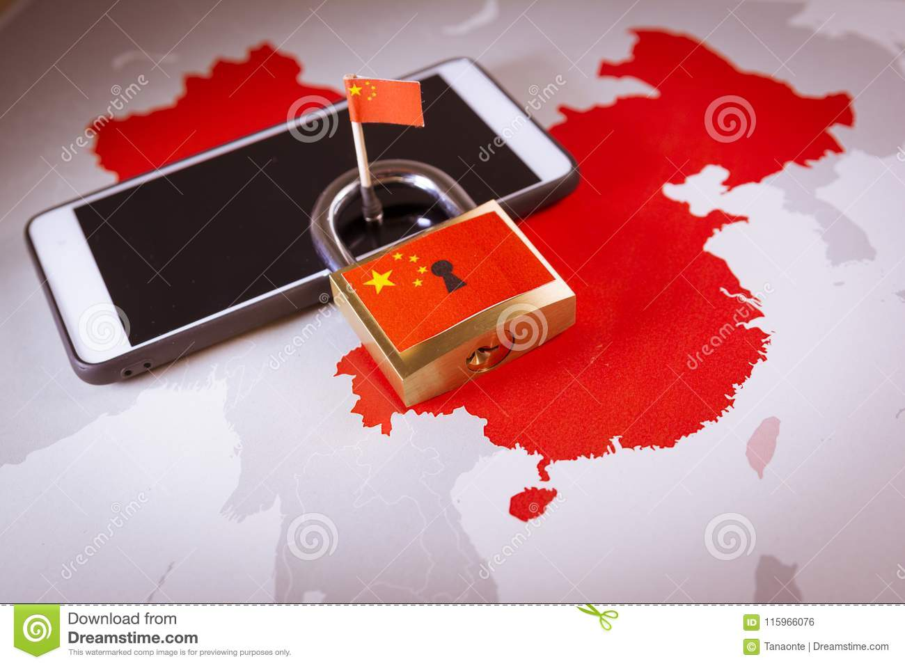 Padlock, China flag on a smartphone and China map. Great Firewall of China concept