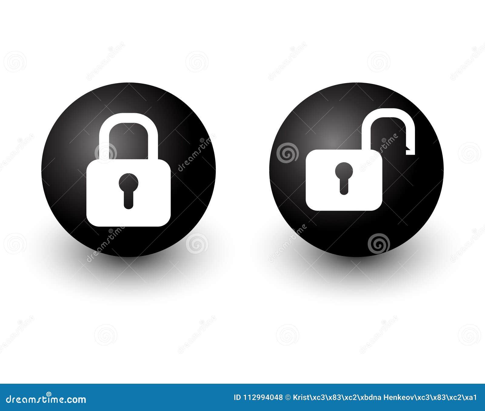 Padlock el icono bloqueado y desbloqueado b del botón del círculo del web del vector de la cerradura