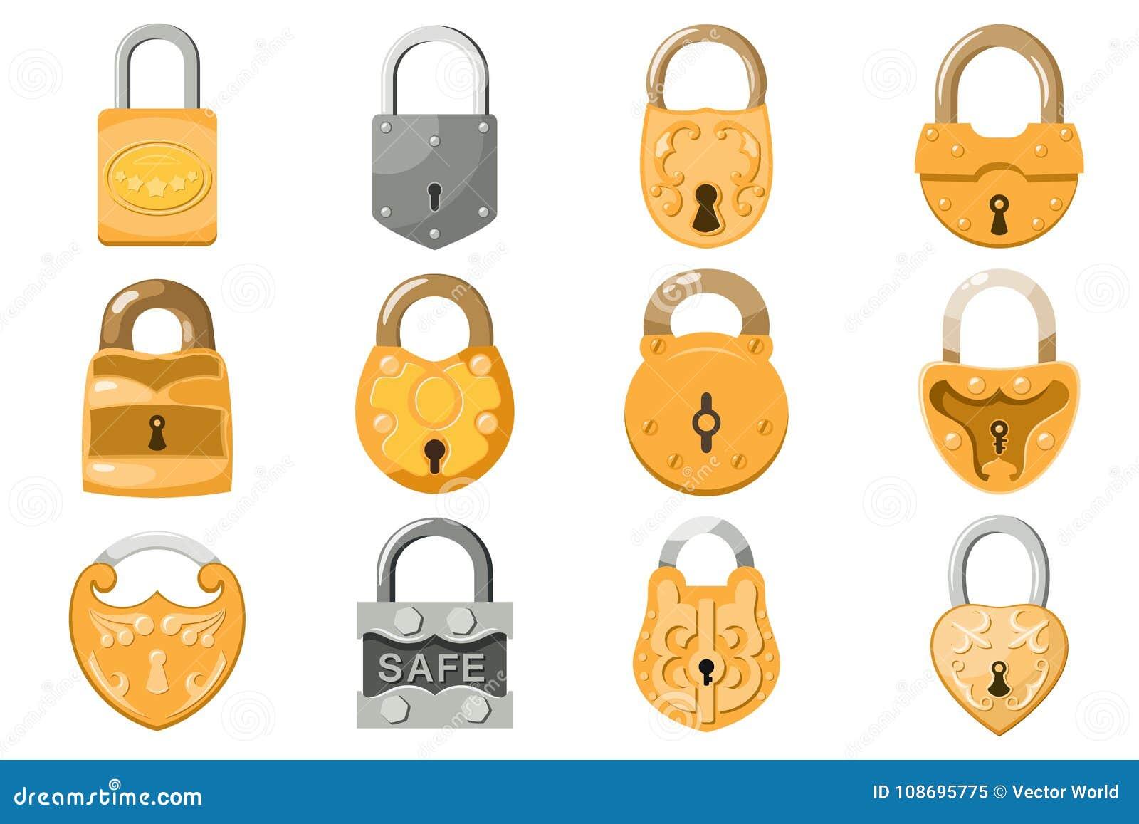 Padlock la serratura di vettore per la protezione di protezione e sicurezza con il meccanismo sicuro bloccato per collegare o la