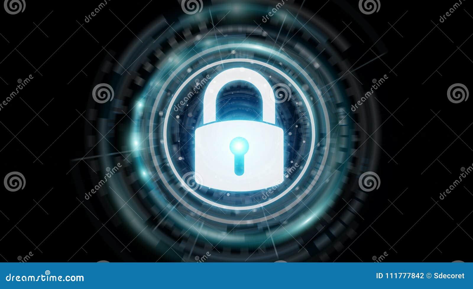Padlock security interface protecting datas 3D rendering