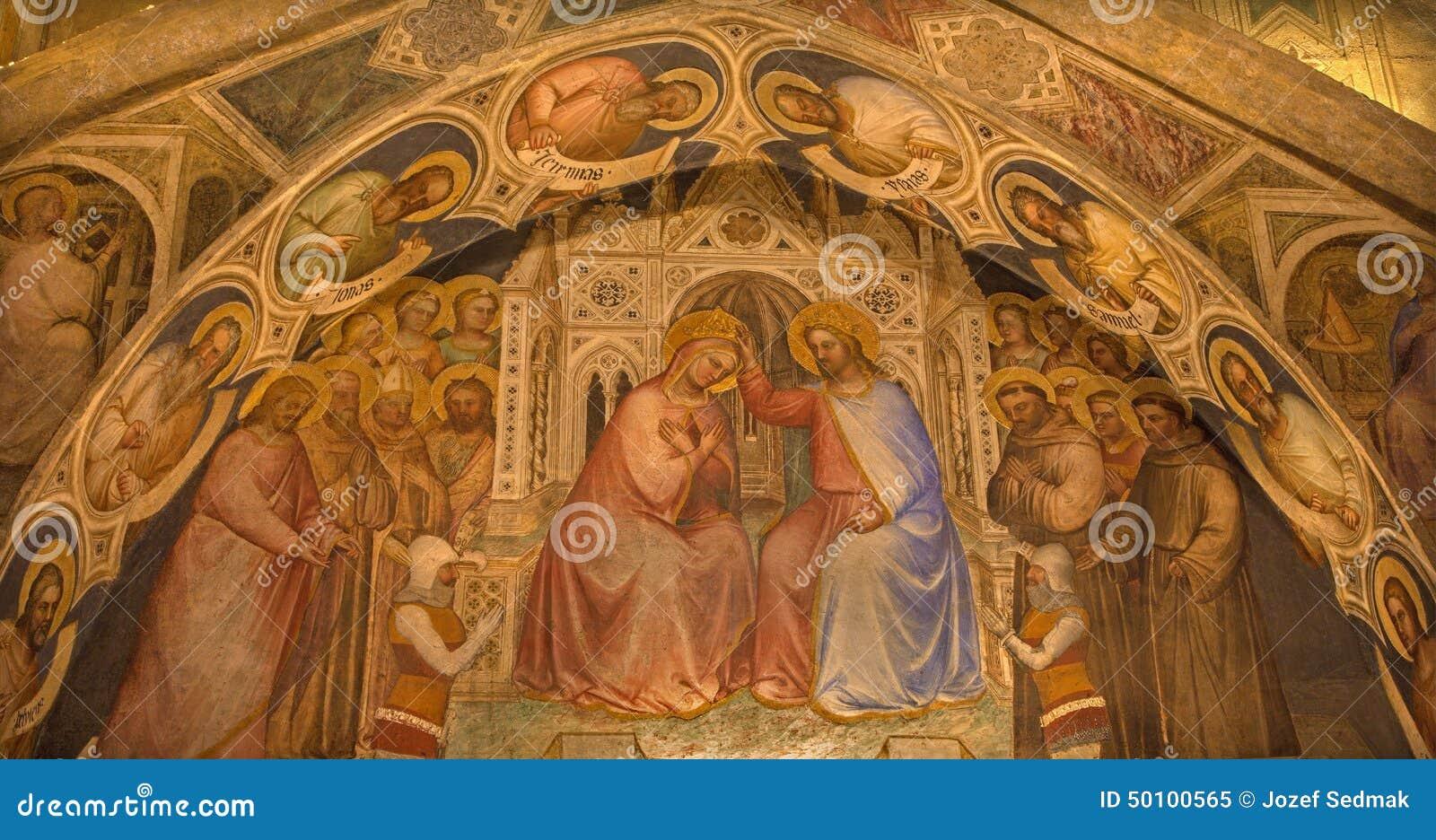 Padoue - fresque de couronnement de Vierge Marie en Basilica del Santo ou basilique de St Anthony de Padoue par Giusto de Menabuo