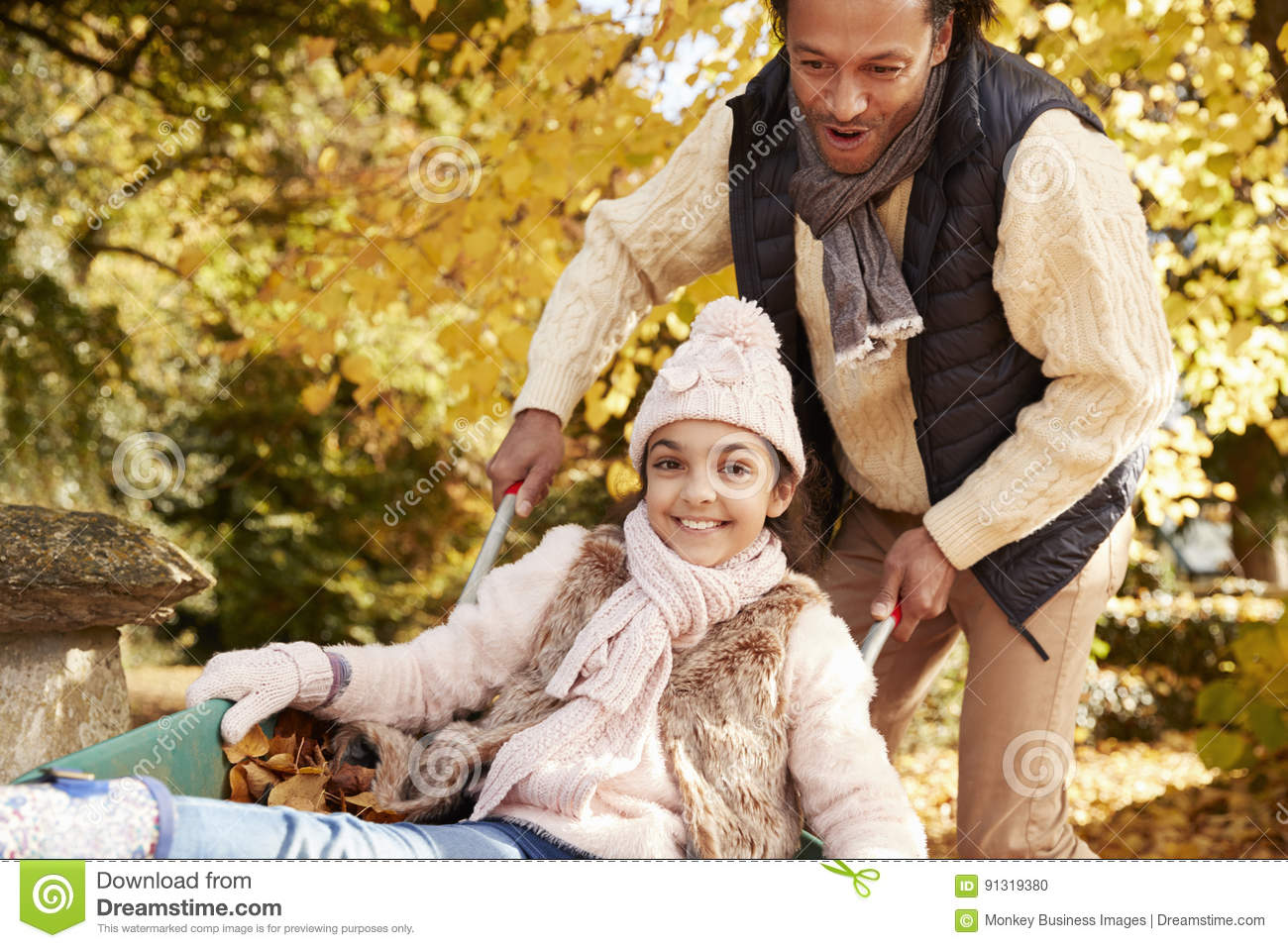Padre In Autumn Garden Gives Daughter Ride in carriola