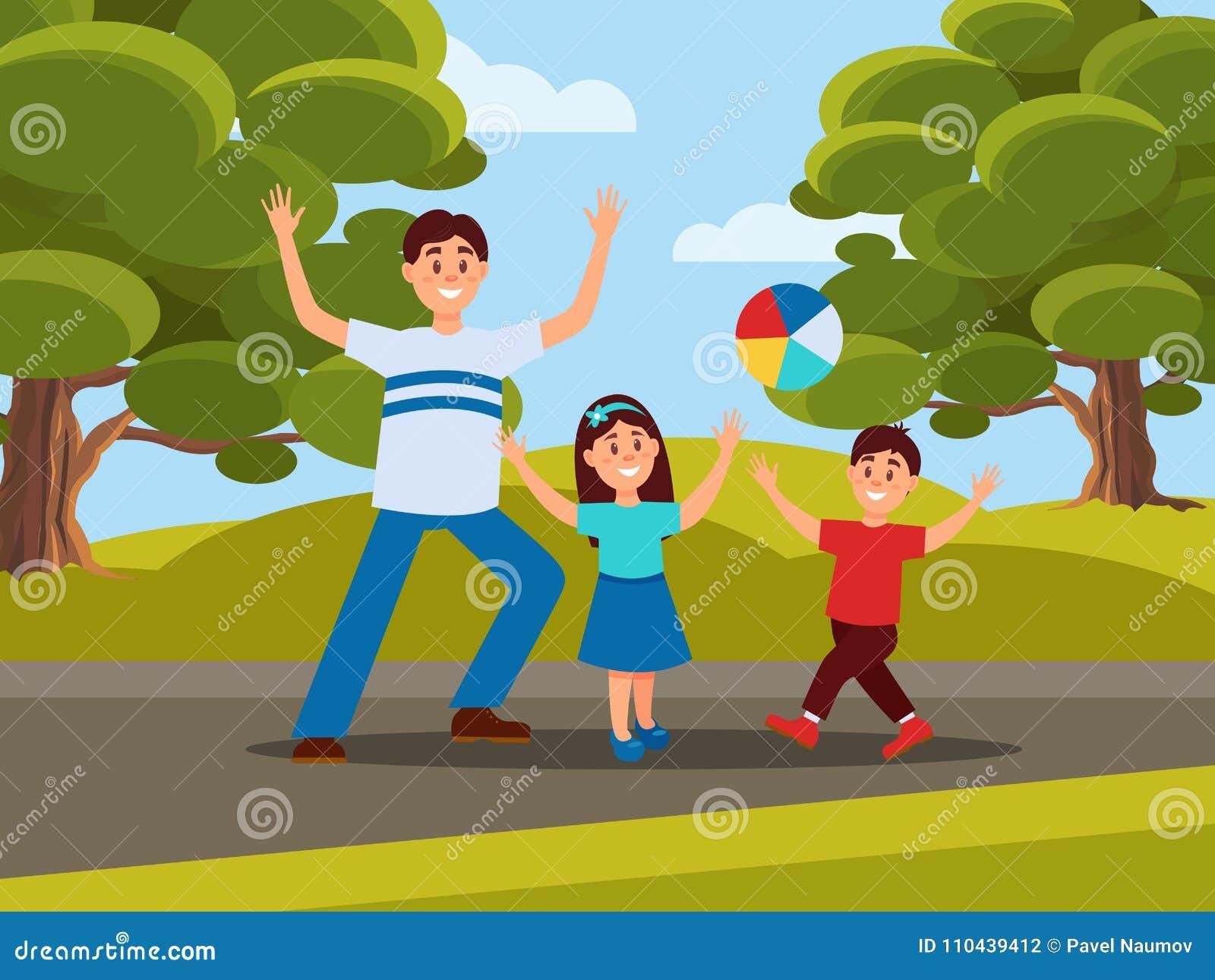 Padre con i suoi bambini che giocano nella palla Ricreazione della famiglia in parco Concetto di paternità Attività esterna Cielo
