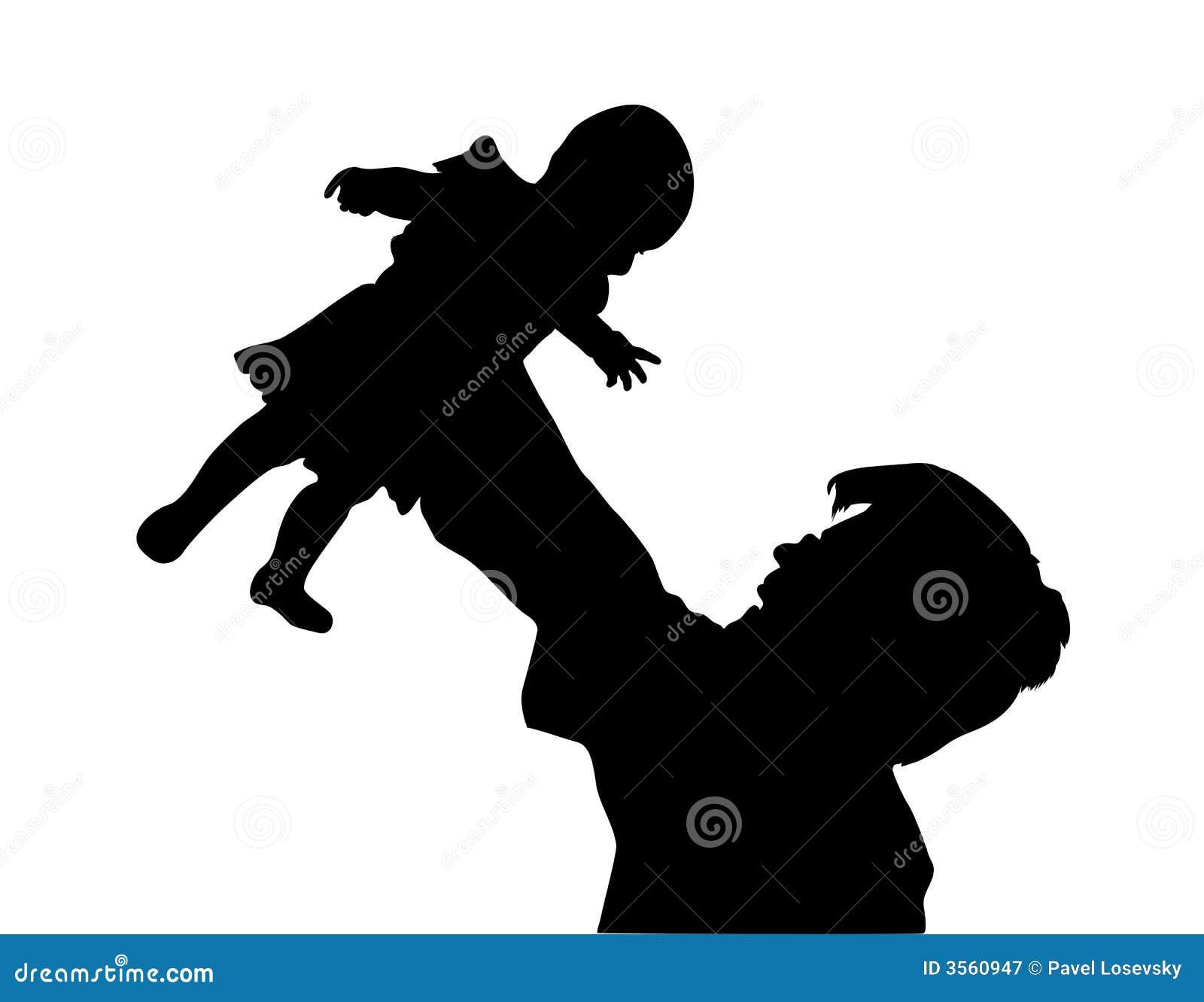 Padre con la siluetta del bambino