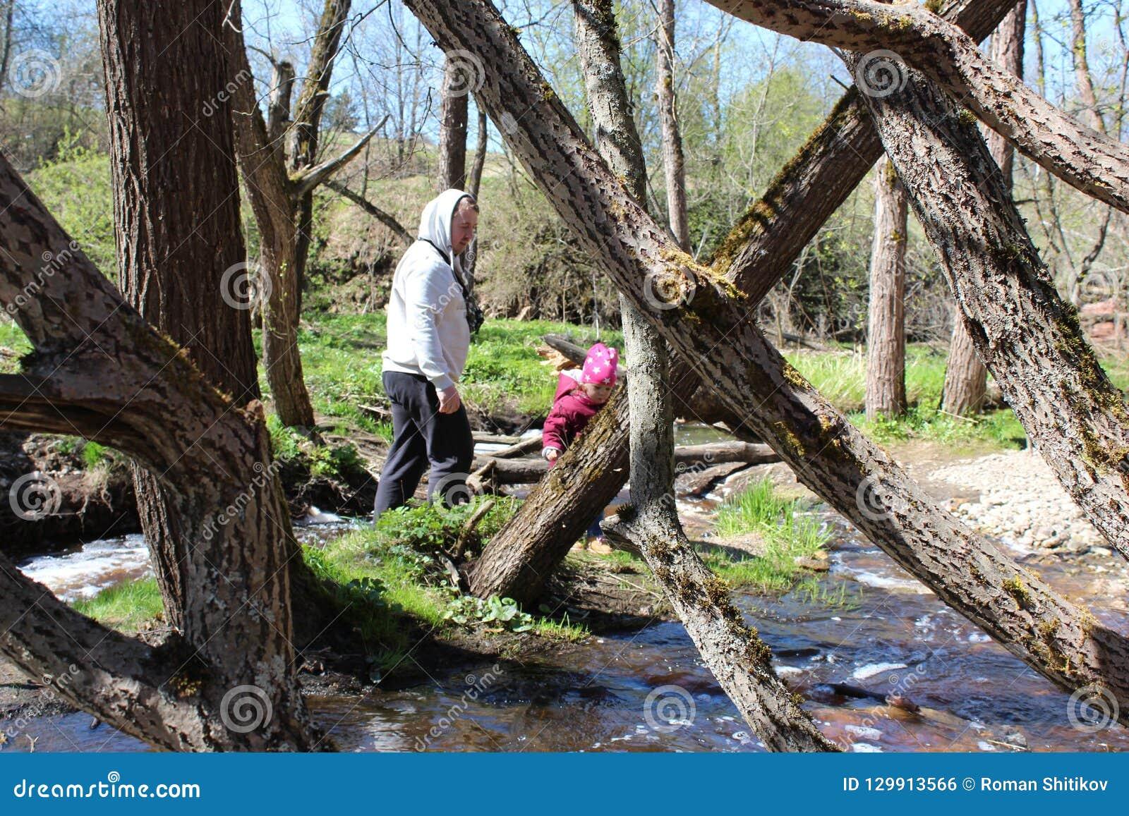 Padre e hija que caminan cerca del río del bosque