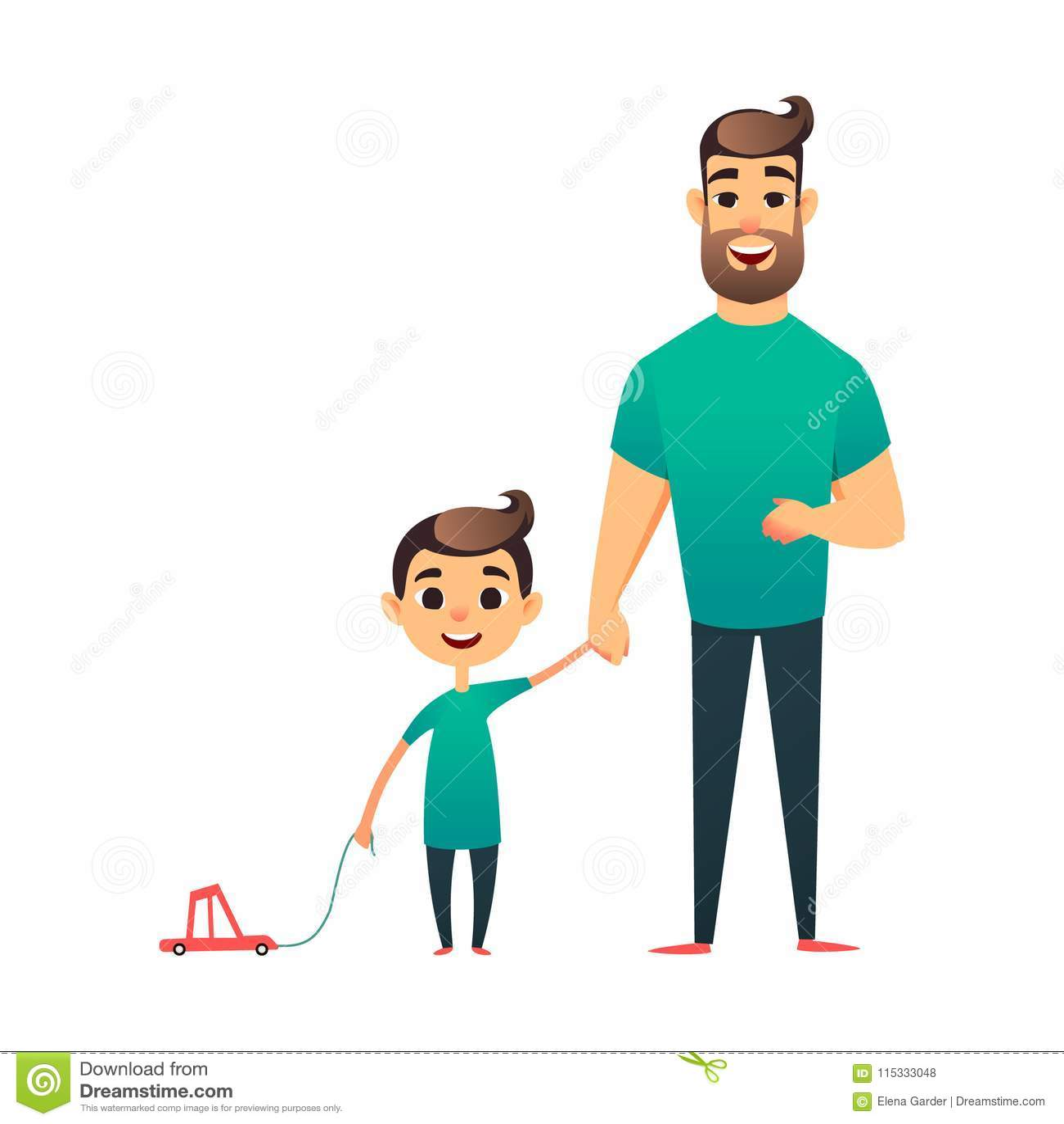 Padre e hijo del vector de la historieta Hombre y muchacho Familia feliz Tarjeta de felicitación feliz del día del padre s