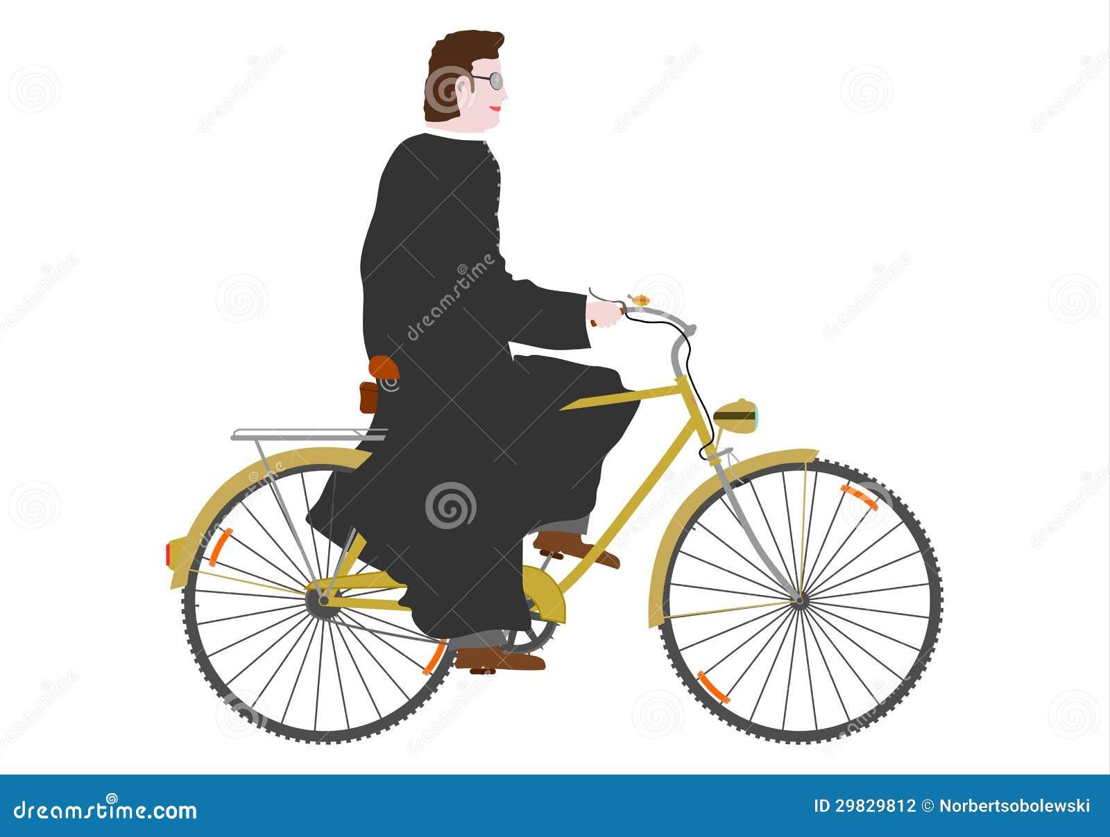 Padre em uma bicicleta.