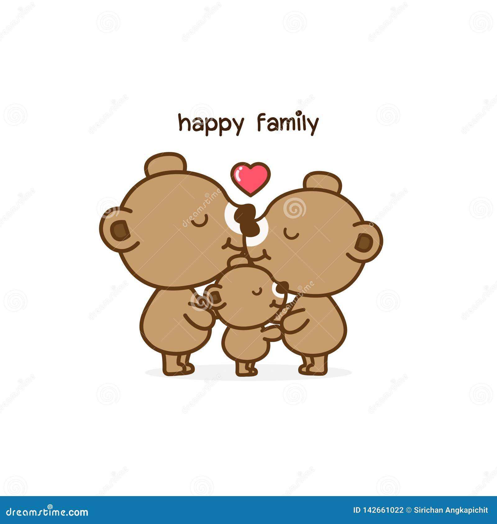 Padre Mother de la familia del oso y bebé Ilustración del vector