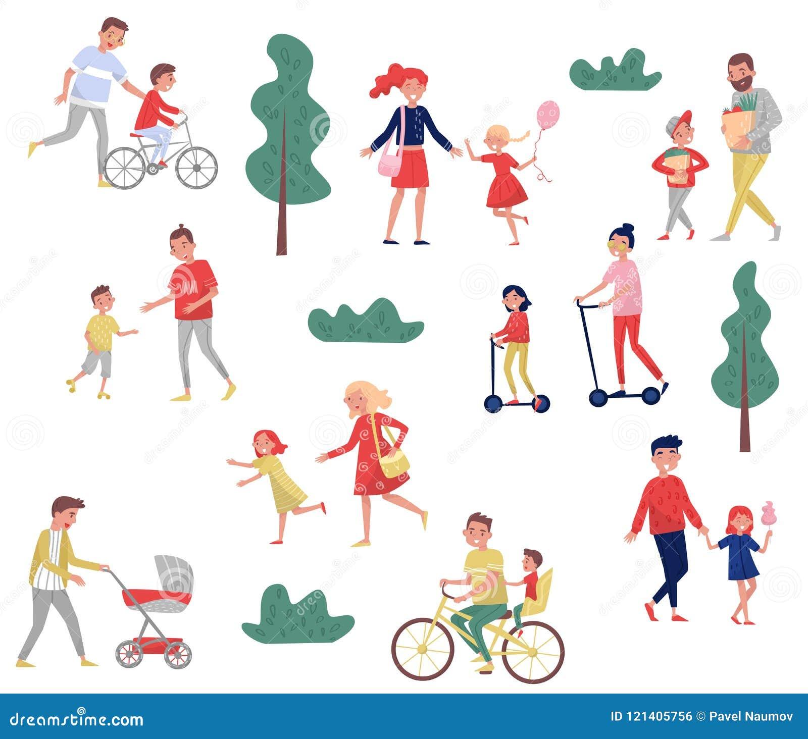 Padres jovenes que pasan tiempo con sus niños Actividades al aire libre Día de la familia Niñez feliz Sistema plano del vector