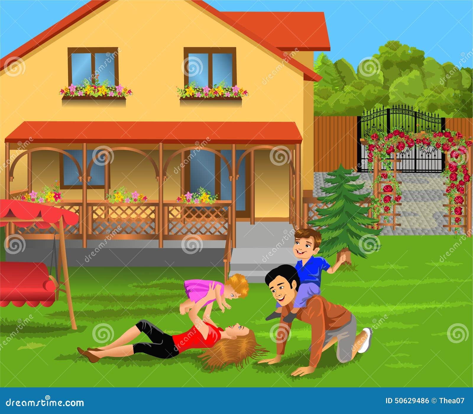 Padres y ni os que juegan en el patio de su casa for Casa para patio ninos