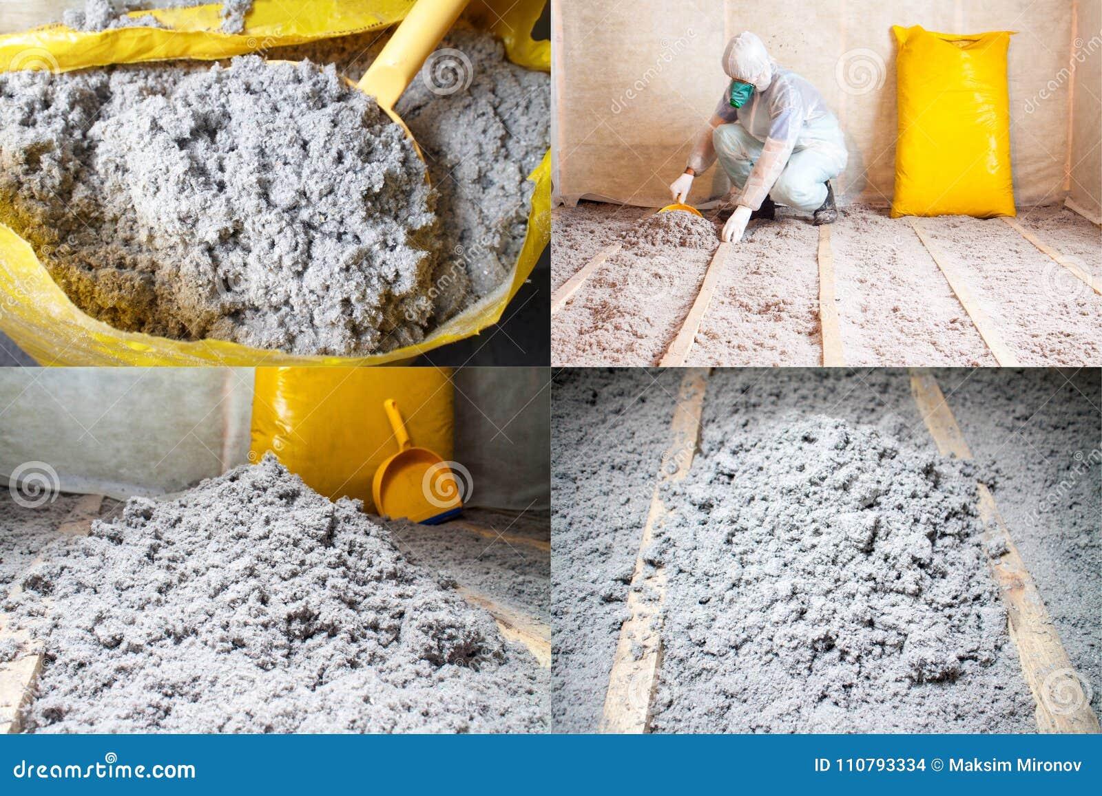 Padroneggi l isolamento impilato della cellulosa nell insieme del pavimento di quattro foto