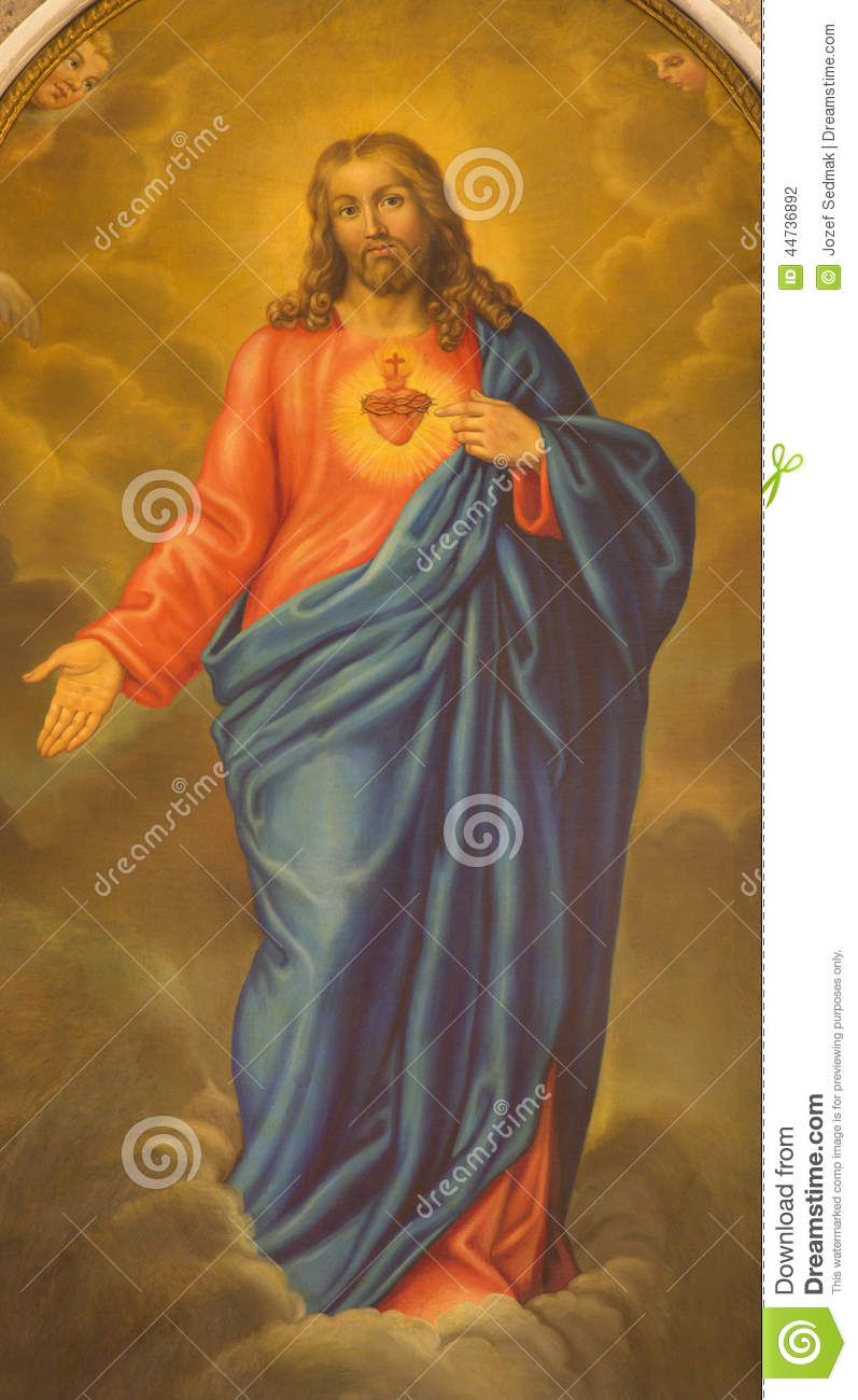 PADUA, ITALY - SEPTEMBER 8, 2014: The heart of Jesus Christ paint from side altar in church San Benedetto vecchio