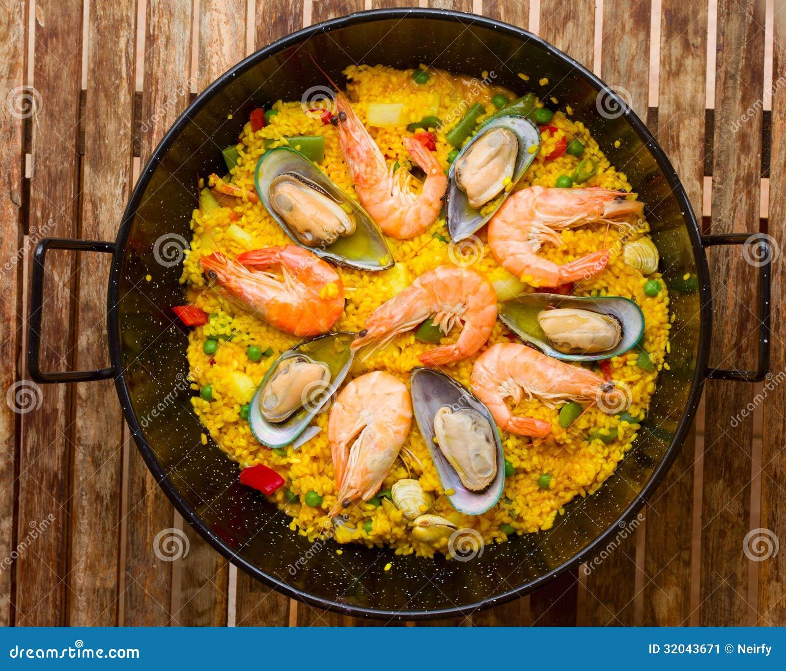 paella de fruits de mer plat espagnol traditionnel image stock image du repas assiette. Black Bedroom Furniture Sets. Home Design Ideas