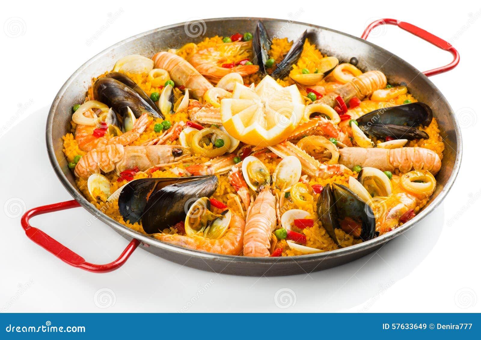 paella espagnole avec des fruits de mer photo stock image 57633649. Black Bedroom Furniture Sets. Home Design Ideas