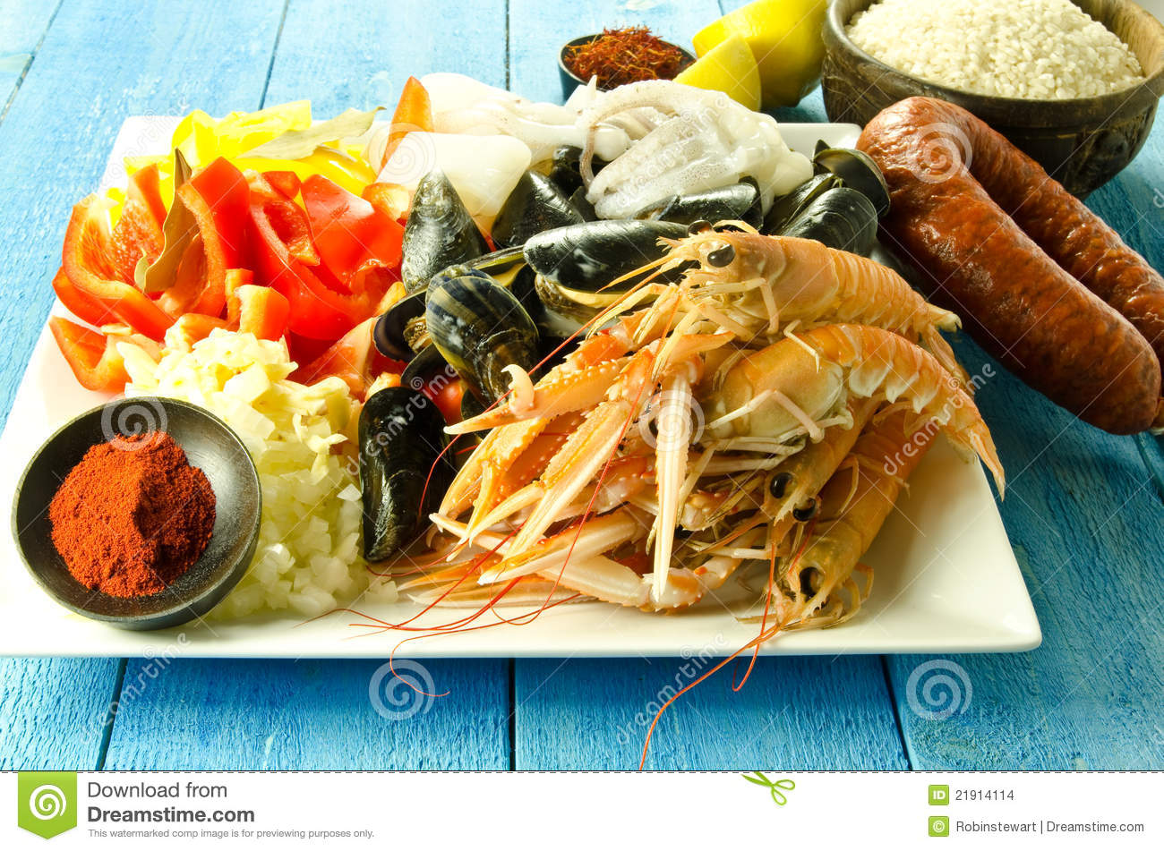 paella ingredients stock photo image of mussels healthy 21914114. Black Bedroom Furniture Sets. Home Design Ideas