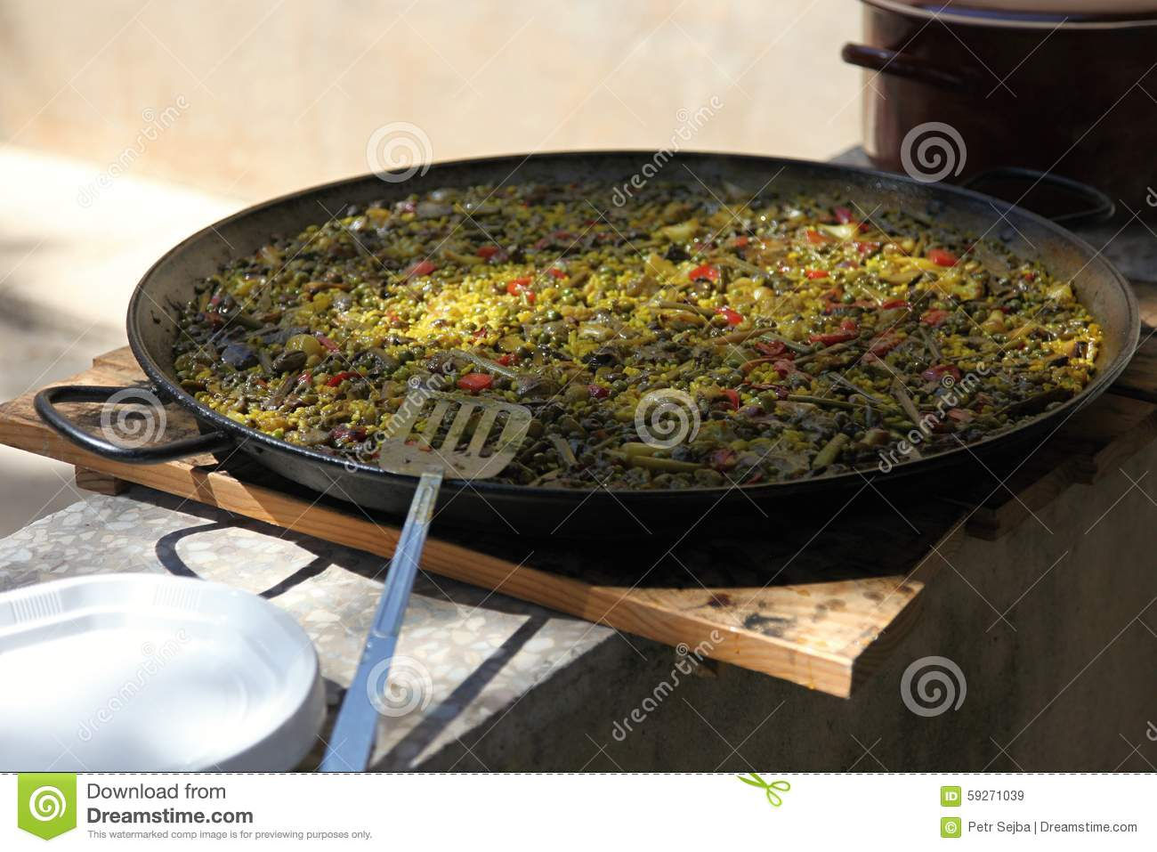 Download Paella In A Large Frying Pan Stock Image - Image of seafood, delicious: 59271039
