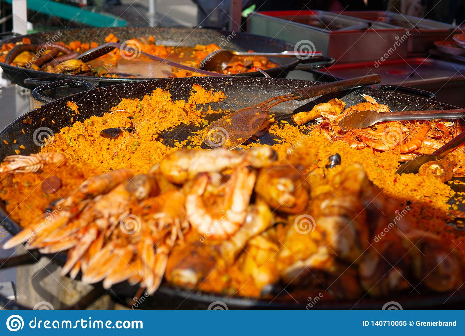 Paella pan at seafood and farmers market