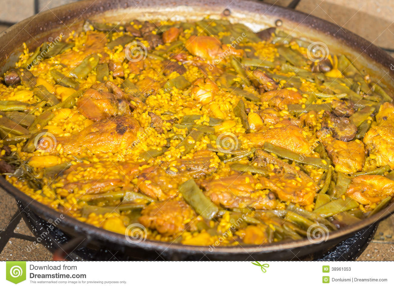 Preparation step of authentic Paella Valenciana Chicken, rabbit and ...