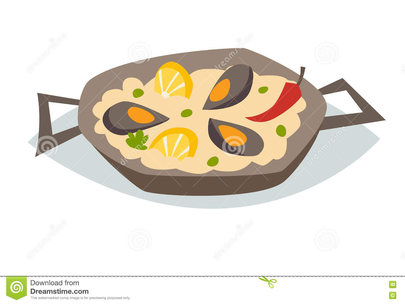 Paella on white vector stock vector image 68986544 - Paella With Seafood Vector Illustration Traditional Spanish Food Stock Photos