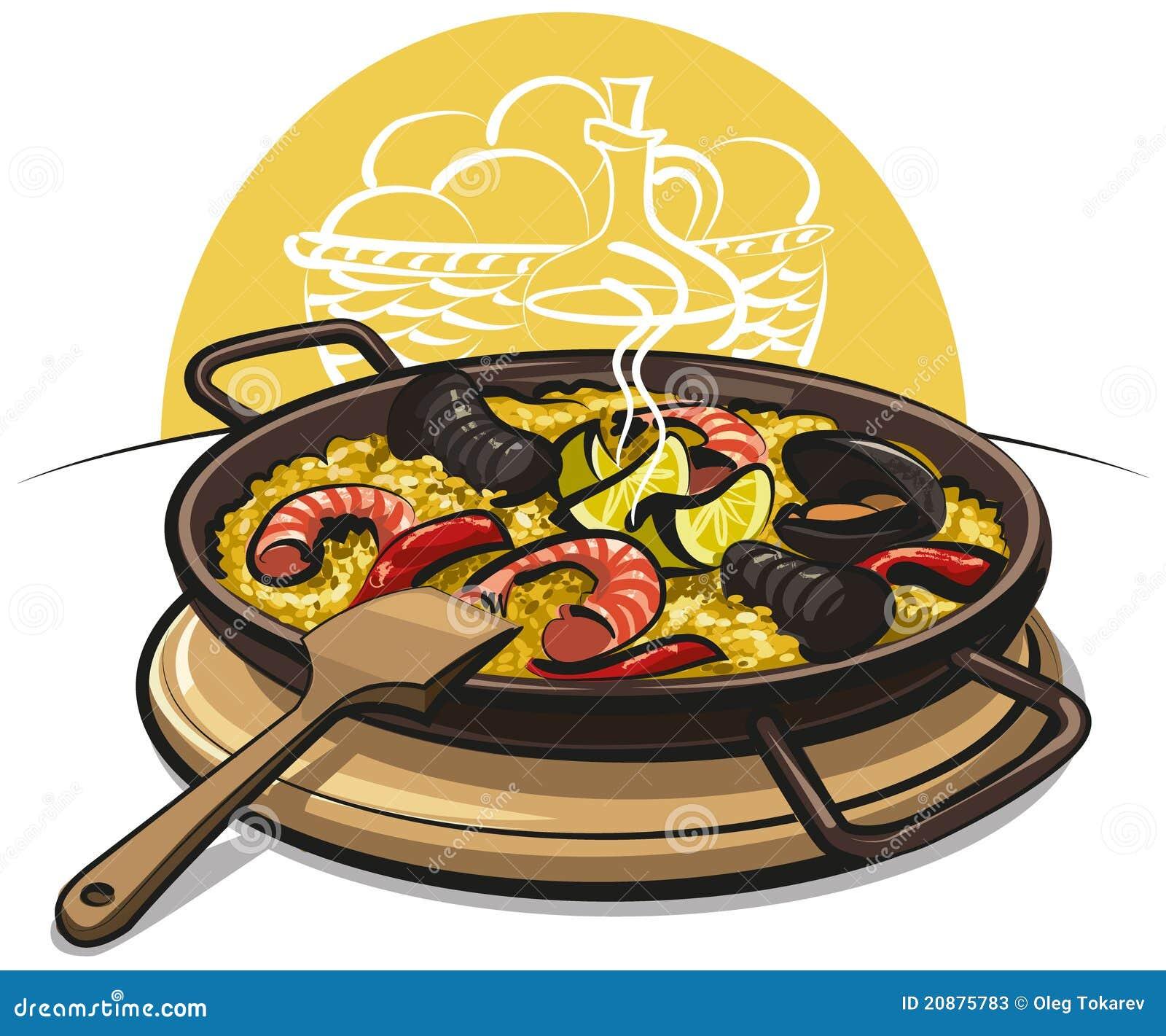 Paella on white vector stock vector image 68986544 - Paella Spagnolo Fotografie Stock