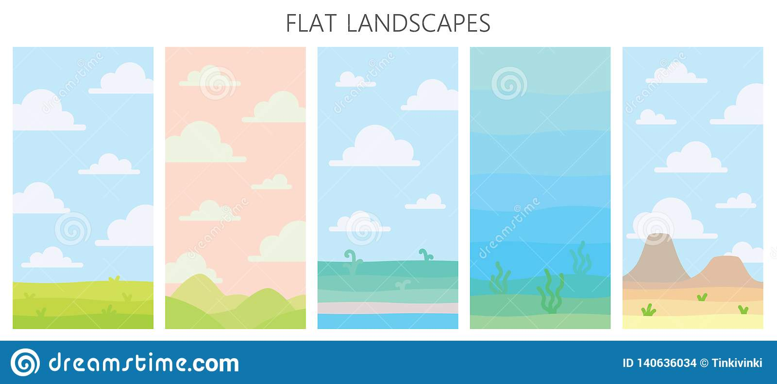 Paesaggi molli della natura Deserto con le montagne, campo verde di estate, costa con le piante, vista subacquea con alga