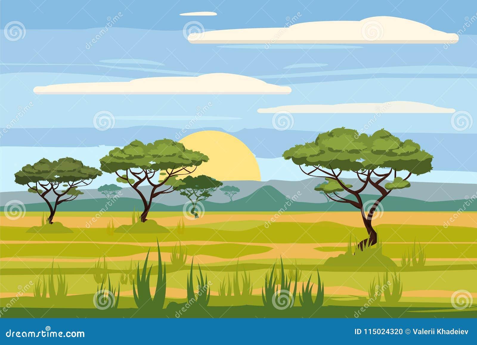 Paesaggio africano, savana, tramonto, vettore, illustrazione, stile del fumetto, isolato