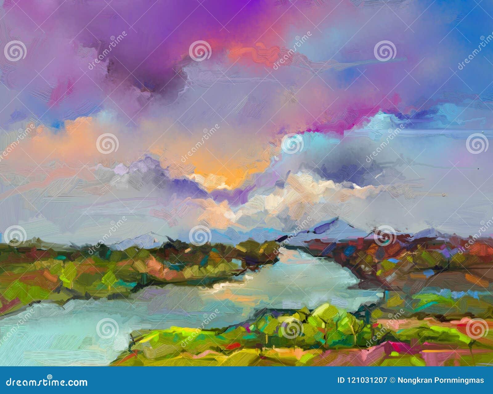 Paesaggio astratto della pittura a olio Natura del paesaggio di astrazione, arte contemporanea per fondo
