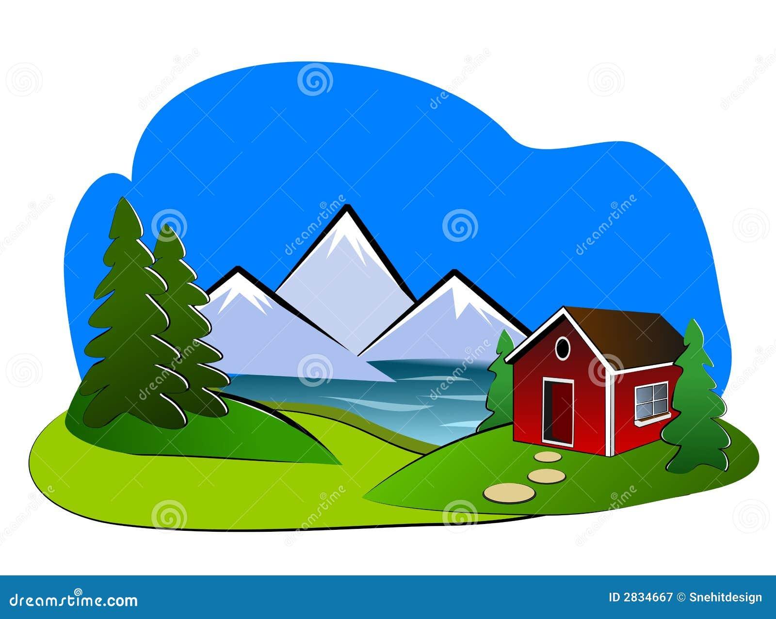 Paesaggio clipart fotografia stock libera da diritti for Piccolo cottage che vive