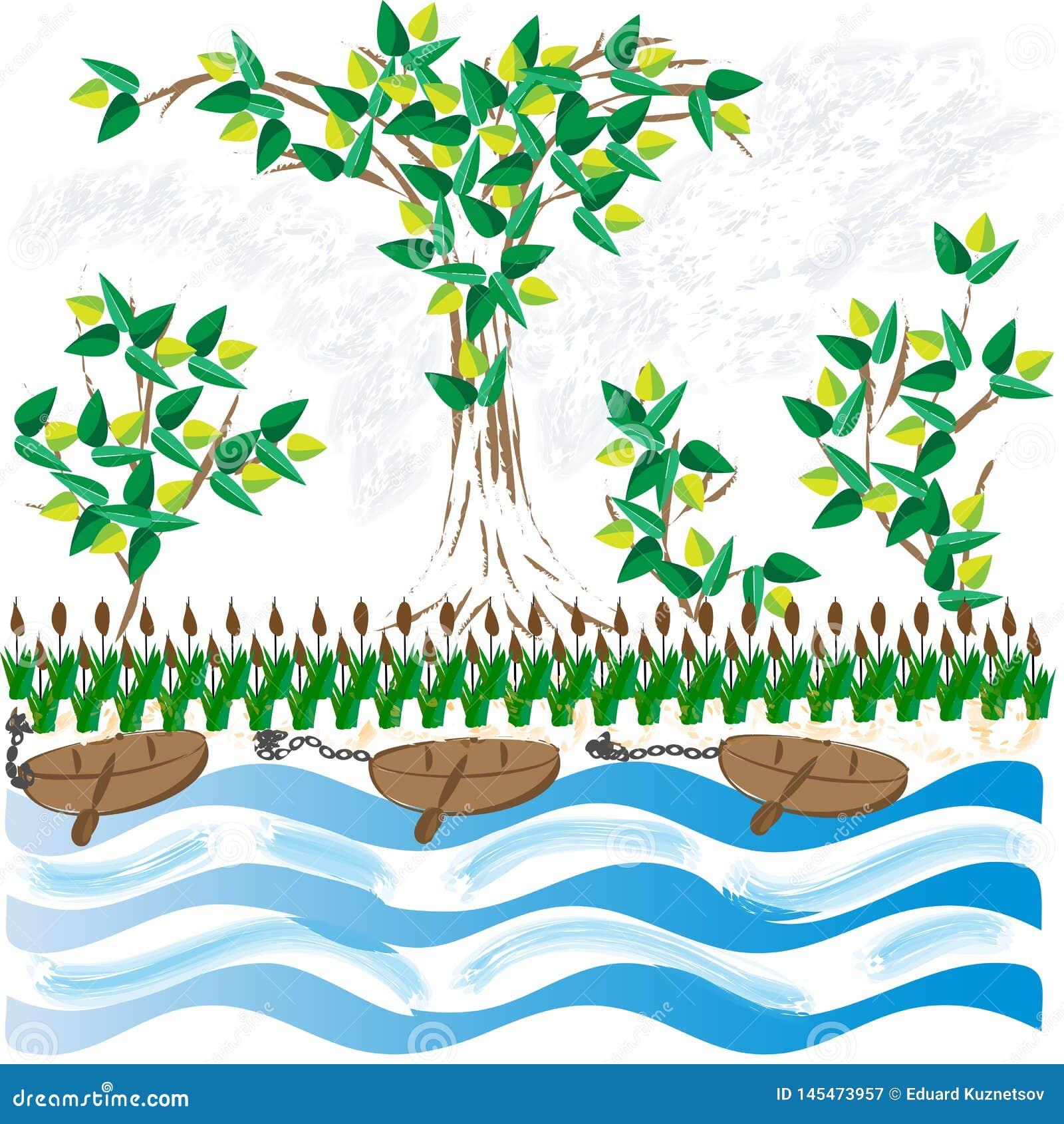 Paesaggio con i vecchi pescherecci sul lago un giorno di estate soleggiato, nella priorit? alta, nei precedenti un pendio con